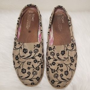 Toms Burlap Slip Ons with Black Embroidery